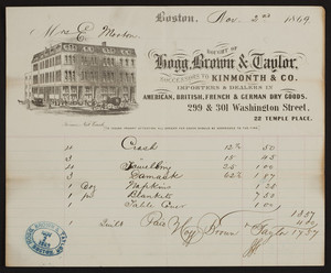Billhead for Hogg, Brown & Taylor, dry goods, 299 & 301 Washington Street, 22 Temple Place, Boston, Mass., dated November 2, 1869