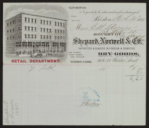 Billhead for Shepard, Norwell & Co., foreign and domestic dry goods, 26 to 34 Winter Street, Boston, Mass., March 31, 1885