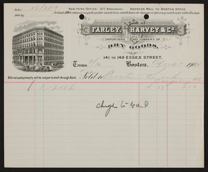 Billhead for Farley, Harvey & Co., importers and jobbers of dry goods, 141 to 149 Essex Street, Boston, Mass., dated August 21, 1904