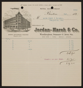 Billhead for Jordan Marsh & Co., department store, Washington, Summer & Avon Streets, Boston, Mass., dated October, 1894