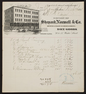 Billhead for Shepard, Norwell & Co., foreign & domestic dry goods, 26 to 34 Winter Street, Boston, Mass., dated March 14, 1881