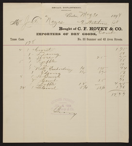 Billhead for C.F. Hovey & Co., importers of dry goods, No. 33 Summer and 42 Avon Streets, Boston, Mass., dated May 31, 1894