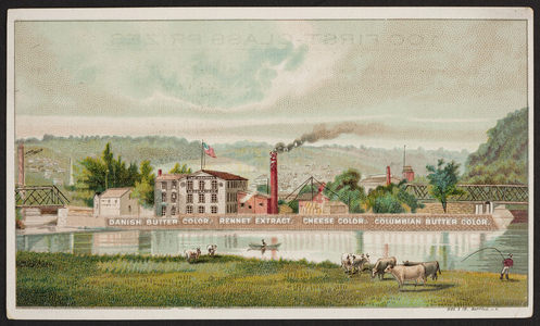 Trade card for Chr. Hansen's Laboratory, dairy products, Little Falls, New York, undated