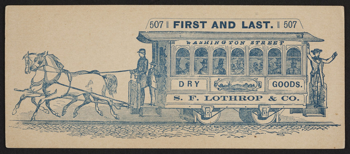 Trade card for S.F. Lothrop & Co., dry goods, 507 Washington Street, Boston, Mass., ca. 1869