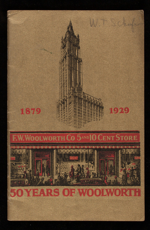 50 years of Woolworth, 1879-1929, book by Catherine McNelis-Hugh Weir, Inc., F.W. Woolworth Co., New York, New York, 1929