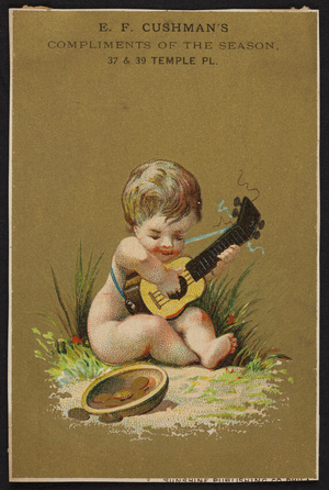 Trade card for E.F. Cushman's, store, 37 & 39 Temple Place, Boston, Mass., ca. 1875
