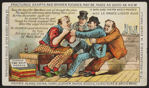 Trade card for Le Page's Liquid Glue, manufactured by the Russia Cement Co., Gloucester, Mass., 1886