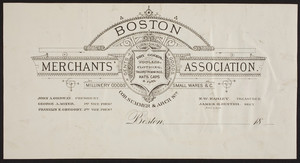 Billhead for Boston Merchants' Association, dry goods, corner of Summer & Arch Streets, Boston, Mass., ca. 1800