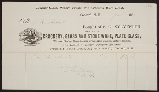 Billhead for S.G. Sylvester, crockery, glass and stone ware, plate glass, 132 Main Street, Concord, New Hampshire, dated January 11, 1866