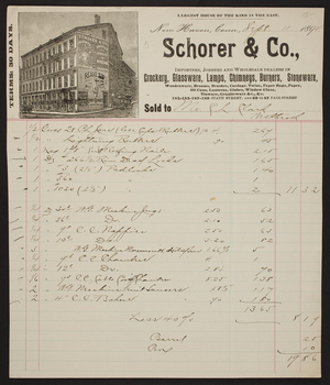 Billhead for Schorer & Co., crockery, glassware, lamps, chimneys, burners, stoneware, 183, 185, 187, 189 State Street and 69 to 87 Fair Street, New Haven, Connecticut, dated September 11, 1894