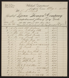 Billhead for the Brown Thompson Company, importers and jobbers of dry goods, 380, 398, 400 and 402 Main Street, Hartford, Connecticut, dated May 8, 1906