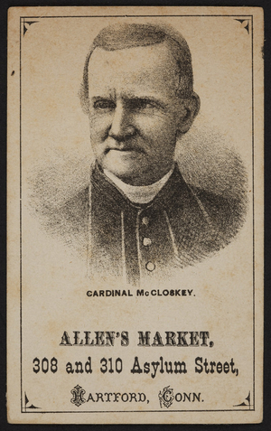 Trade card for Allen's Market, 308 and 310 Asylum Street, Hartford, Connecticut, undated