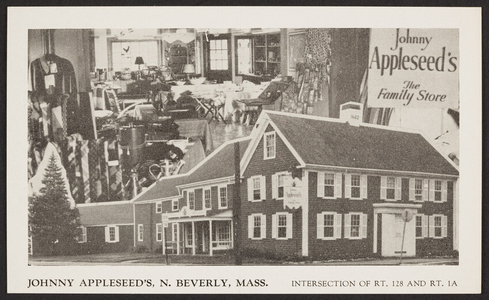 Postcard for Johnny Appleseed's, the Family Store, North Beverly, Mass., undated