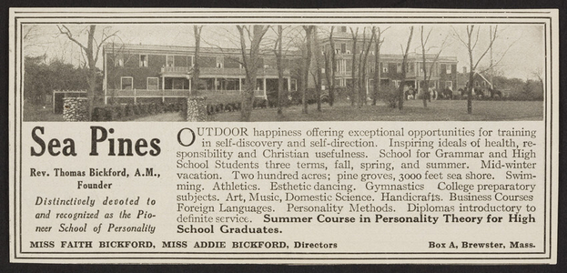 Advertisement for Sea Pines, school, Box A, Brewster, Mass., August 1921