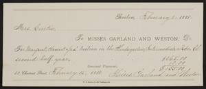 Check to Misses Garland and Weston, 52 Chestnut Street, Boston, Mass, dated February 8, 1888