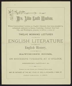 Twelve morning lectures on English literature and English history, Mrs. Abba Gootd Wootson, location unknown, undated