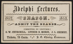 Ticket for Adelphi lectures season, location unknown, 1852-1853