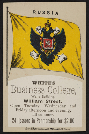 Advertising card for White's Business College, Waite Building, William Street, New Bedford, Mass., undated