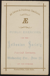 Public exercises, Aethenian Society, Fairfield Seminary, Fairfield, New York, undated