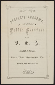 Public Exercises of the V.E.A., People's Academy, Town Hall, Morrisville, Vermont, May 11, 1858