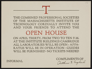Invitation to an open house, Massachusetts Institute of Technology, Cambridge, Mass., dated April 18, 1927