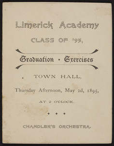 Graduation exercises, Class of '95, Limerick Academy, Town Hall, Limerick, Maine, May 2, 1895