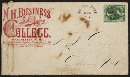 Envelope for the N.H. Business College, Manchester, New Hampshire, undated