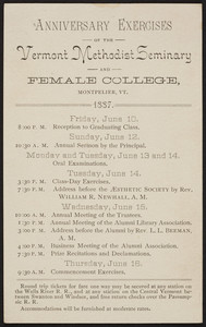 Anniversary exercises, Vermont Methodist Seminary and Female College, Montpelier, Vermont, 1887