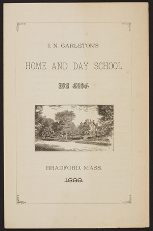 I.N. Carleton's Home and Day School for Boys, Bradford, Mass., 1886