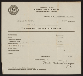 Billhead for the Kimball Union Academy, Meriden, New Hampshire, dated November 18, 1925