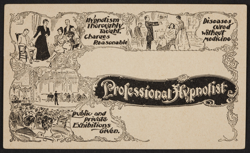 Trade card for a professional hypnotist, location unknown, undated