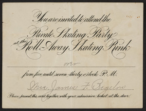 Invitation to the private skating party, Roll-Away Skating Rink, location unknown, 1909-1910