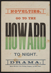 Go to the Howard to night, Boston, Mass., undated