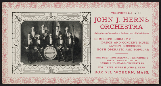Trade card for John J. Hern's Orchestra, Box 513, Woburn, Mass., undated
