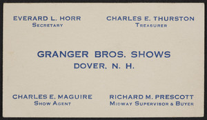 Trade card for Granger Bros. Shows, Dover, New Hampshire, undated