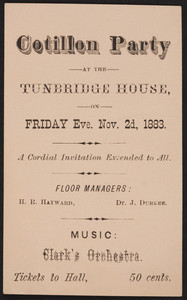Invitation for cotillon party, Tunbridge House, location unknown, November 2, 1883