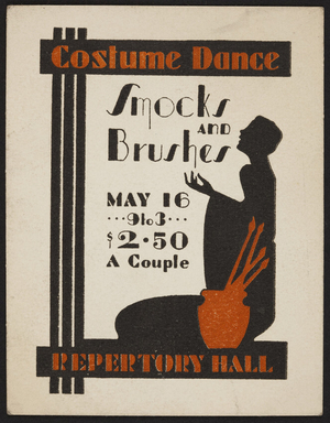Advertising card for Smocks and Brushes costume dance, Repertory Hall, location unknown, undated