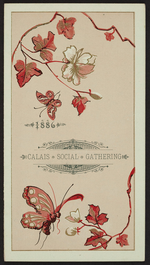 Invitation for the Calais Social Gathering Annual, A.C. Slayton's Hall, Plainfield, Vermont, February 12, 1886