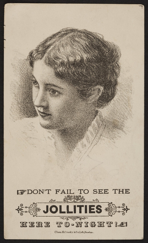 Trade card for The Jollities, location unknown, undated
