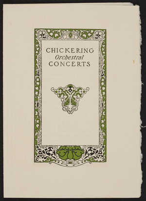 Chickering orchestral concerts, Boston, Mass., February 10, 1904