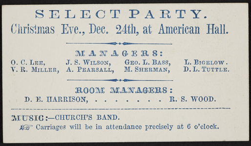 Ticket for select party, American Hall, location unknown, undated