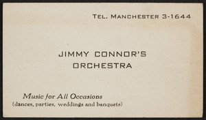 Trade card for Jimmy Connor's Orchestra, location unknown, undated