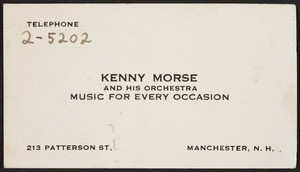 Kenny Morse and his Orchestra, 213 Patterson Street, Manchester, New Hampshire, undated