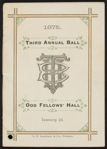 Dance card for third annual ball, Odd Fellows' Hall, location unknown, January 22, 1875