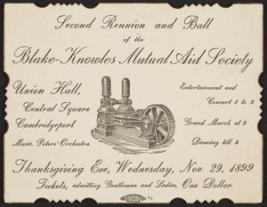 Invitation for the second reunion and ball, Blake-Knowles Mutual Aid Society, Union Hall, Central Square, Cambridgeport, Mass., November 29, 1899