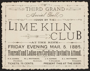Invitation for the third grand social ball, Lime Kiln Club, location unknown, March 5, 1886