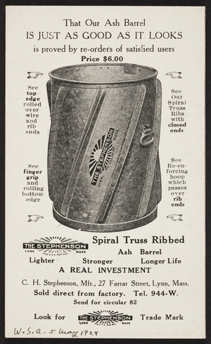 Trade card for The Stephenson Spiral Truss Ribbed Ash Barrel, C.H. Stephenson, 27 Farrar Street, Lynn, Mass., undated