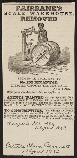 Advertisement for Fairbank's Scale Warehouse, No. 252 Broadway, opposite The City Hall, New York, New York, April 11, 1863