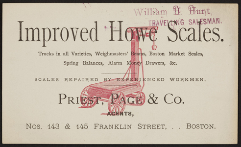 Trade card for Improved Howe Scales, Priest, Page & Co., Nos. 143 & 145 Franklin Street, Boston, Mass., undated