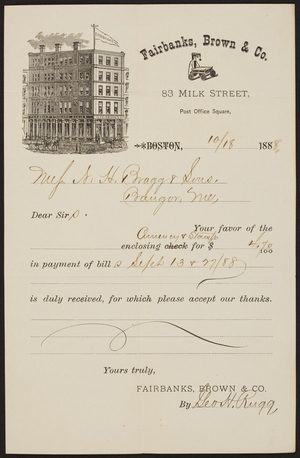 Receipt for Fairbanks, Brown & Co., 83 Milk Street, Boston, Mass., dated October 18, 1888